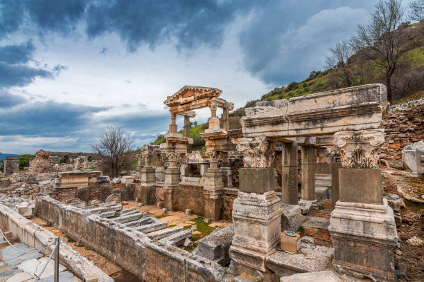 Ephesus Ancient City in Turkey The Fountain of Trajan in Ephesus Ancient City ephesus stock pictures, royalty-free photos & images