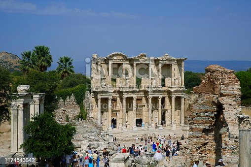 Izmir, Turkey - August 26, 2019: Ruins of Celsius Library in ancient city Ephesus. In the first quarter of the 2nd century AD, the Roman senator was built on the tomb of Julius Celsus Polemaeanus.