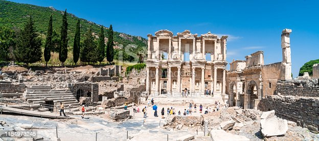EPHESUS, TURKEY - JUNE 2, 2019 : Celsus library in Ephesus ancient city ruins Ephesus famous place for tourists in Izmir for historical place.