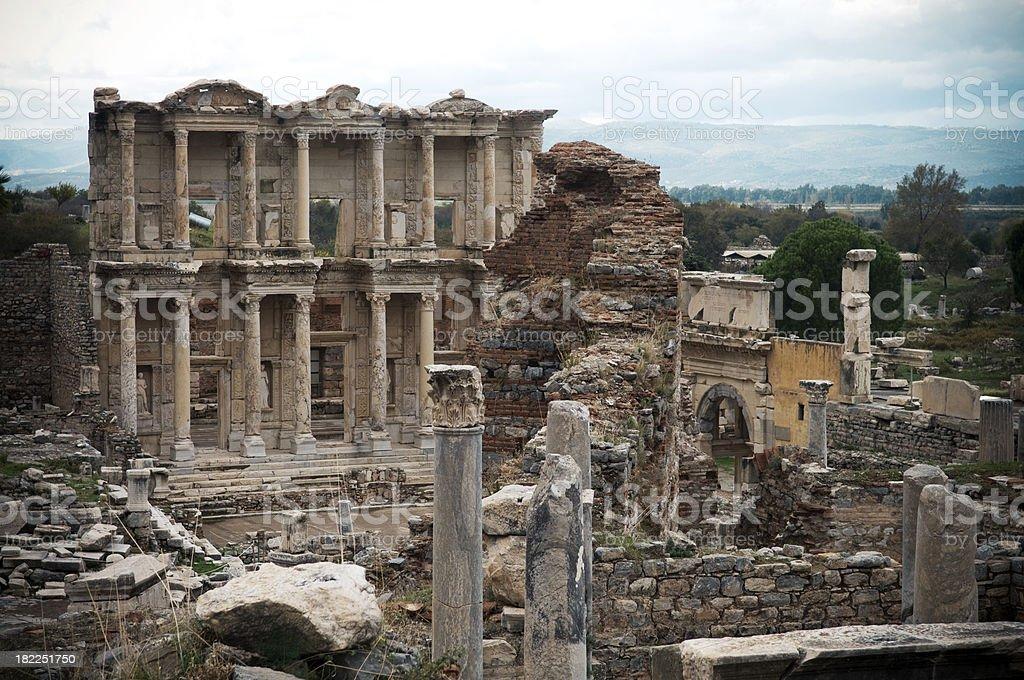 Ephesus Celsus Library Turkey royalty-free stock photo