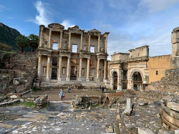 Ephesus Celsus Library in Ephesus Wide celsus library stock pictures, royalty-free photos & images
