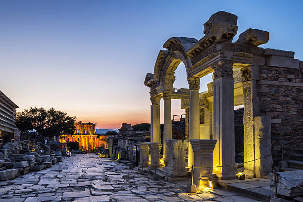 Ephesus Ephesus  was an ancient Greek city on the coast of Ionia, three kilometres southwest of present-day Selçuk in İzmir Province, Turkey. celsus library stock pictures, royalty-free photos & images