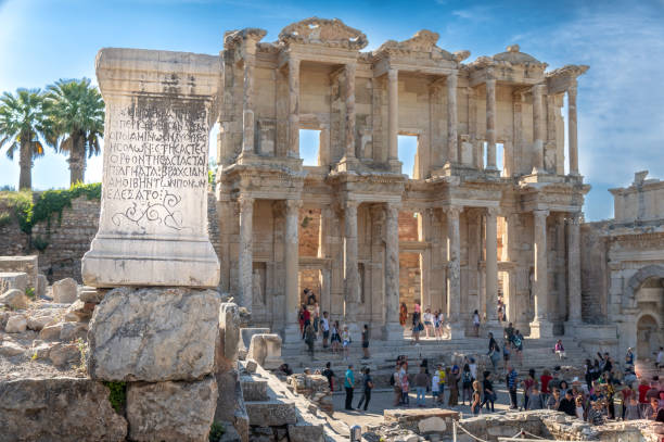 Ephesus Ruins in Turkey Roman and Green Ephesus Ruins outside Selcuk Turkey celsus library stock pictures, royalty-free photos & images