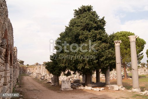 istock Ephesus street with the columns 477451452