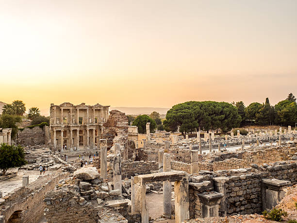 Ephesus the UNESCO World Heritage Site. Selcuk, Izmir, Turkey - September 13, 2016: Ephesus was an ancient Greek city on the coast of Ionia. UNESCO World Heritage Site. celsus library stock pictures, royalty-free photos & images