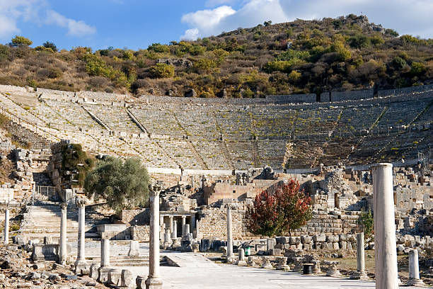 """Ephesus theatre, Turkey """"Ephesus theatre, which had a seating capacity of 25,000 was first constructed during the 1st century BC, and modified by the Romans 1-2nd centuries AD."""" greco roman style stock pictures, royalty-free photos & images"""