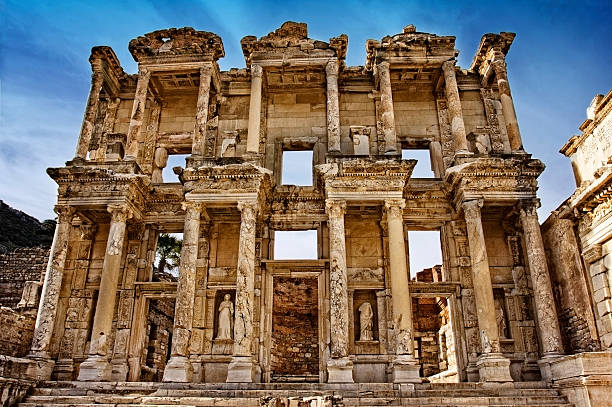 Ephesus Turkey Celsus library in Ephesus celsus library stock pictures, royalty-free photos & images