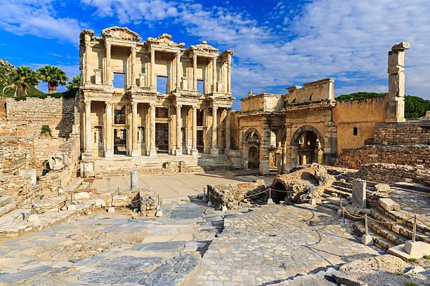 Ephesus, Turkey Facade of ancient Celsius Library in Ephesus, Turkey celsus library stock pictures, royalty-free photos & images