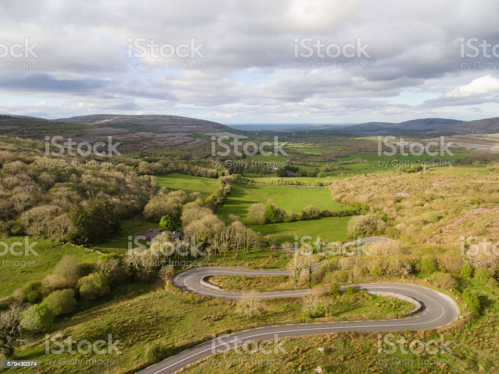 Epic Aerial view of the beautiful Irish countryside nature landscape from the Burren national park in County Clare Ireland. Scenic Ireland. royalty-free stock photo