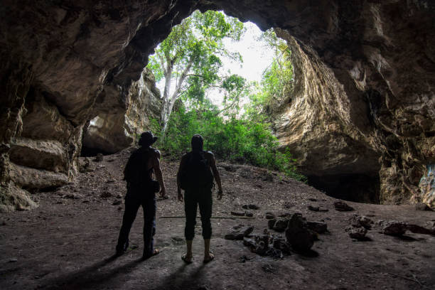 Epic cave adventure in Chiapas, Mexico stock photo
