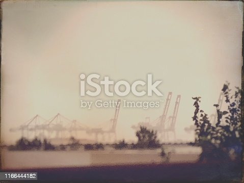 Epic Industrial View with Container Cranes - Vintage Style