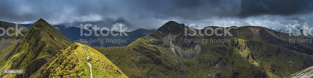 Epic mountain landscape peak panorama Ring of Steall Highlands Scotland stock photo
