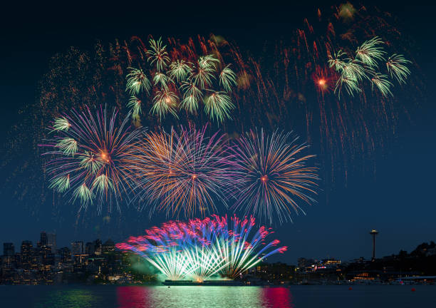 Epic Seattle fireworks display on celebration night, showing over the lake with multi color of reflection on water stock photo