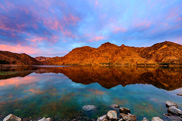 Epic Sunrise at Colorado River near Las Vagas Beautiful sunrise of Colorado River colorado river stock pictures, royalty-free photos & images