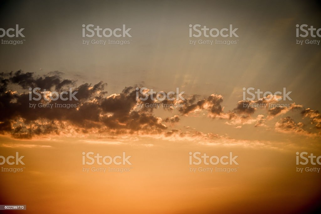 Epic sunset and colorful clouds over the Greek Isles stock photo