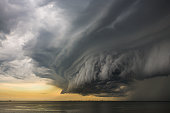 An amazing looking super cell storm cloud forming on the east coast of Queensland, Australia.