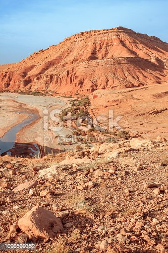 istock Epic Viev View of the desolating valley Ounila River. Beautiful Northern African Landscape . Fascinating view from the hill to the valley in Morocco 1096569352