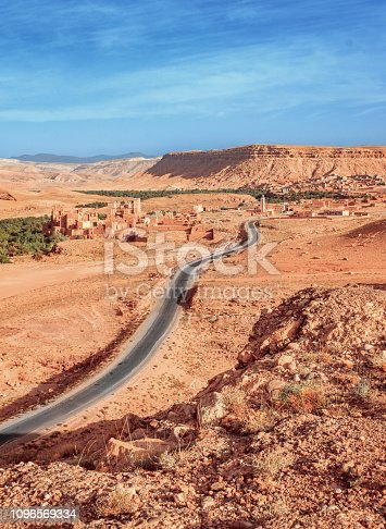 istock Epic Viev View of the valley Ounila River. Beautiful Northern African Landscape . Fascinating view from the hill to the valley in Morocco 1096569334