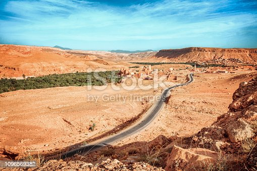 istock Epic Viev View of the valley Ounila River. Beautiful Northern African Landscape . Fascinating view from the hill to the valley in Morocco 1096569382