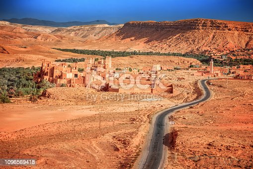istock Epic Viev View of the valley Ounila River. Beautiful Northern African Landscape . Fascinating view from the hill to the valley in Morocco 1096569418