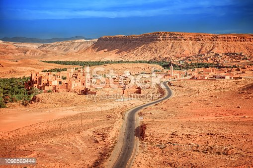 istock Epic Viev View of the valley Ounila River near Tazelefte. Beautiful Northern African Landscape . Fascinating view from the hill to the valley in Morocco 1096569444