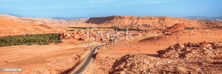istock Epic View of the valley Ounila River. Beautiful Northern African Landscape . Fascinating panoramic view from the hill to the valley in Morocco 1096569296