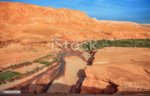 istock Epic View of the valley Ounila River. Beautiful Northern African Landscape . Fascinating view from the hill to the valley in Morocco 1096569396
