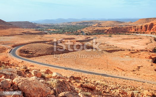 istock Epic View View of the desolating valley Ounila River. Beautiful Northern African Landscape . Nature of Morocco. Fascinating view from the hill to the valley in Morocco 1096569302