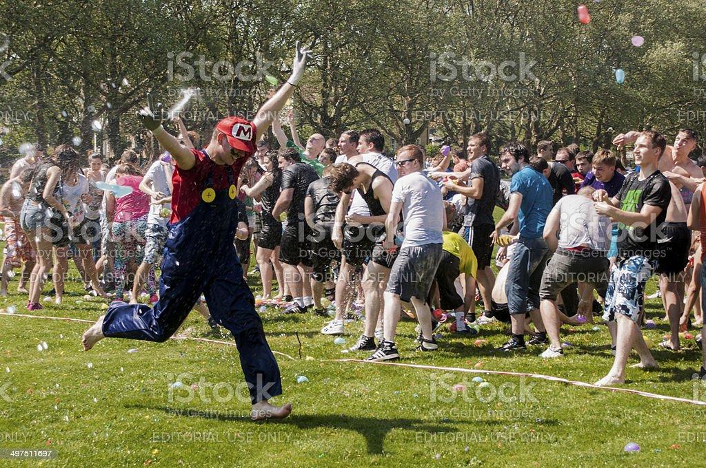 Epic water baloon battle stock photo