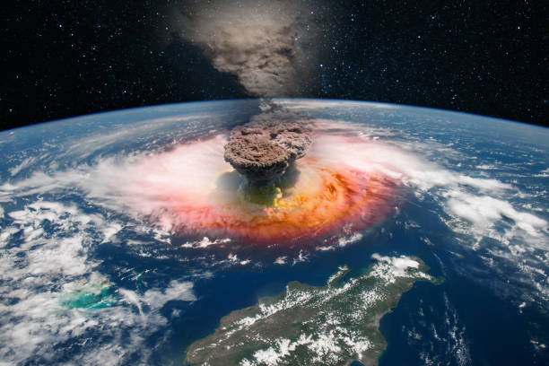 Epicenter of a nuclear explosion, armageddon for planet Earth. Elements of this image furnished by NASA. stock photo