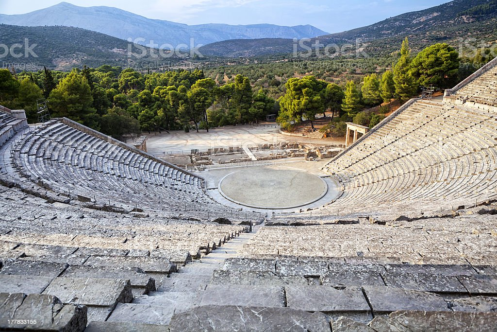 Epidaurus amphitheater from high angle view royalty-free stock photo