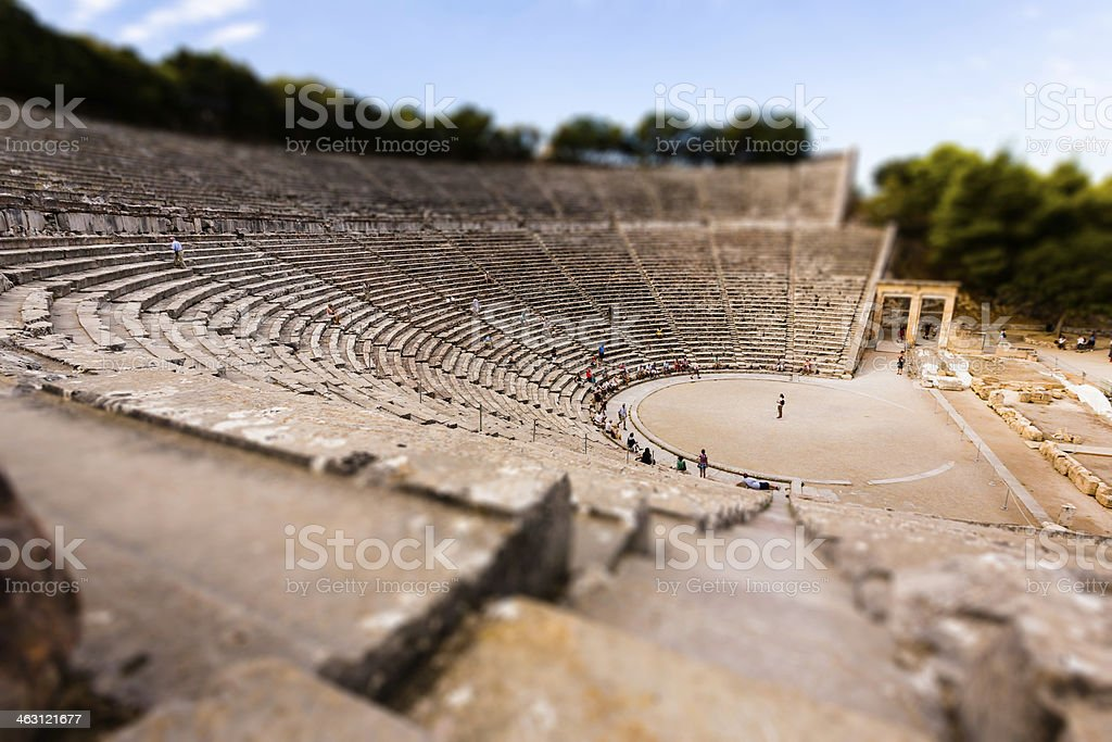Epidaurus theatre - tilt-shift effect, Greece stock photo