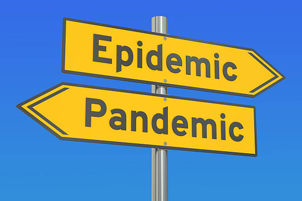epidemic vs pandemic concept on the road signpost. 3d rendering - epidemiologia foto e immagini stock
