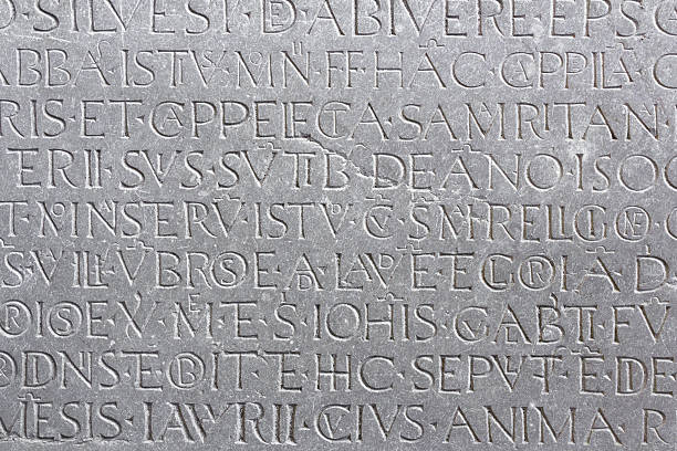 epigraph - stone font stock photos and pictures