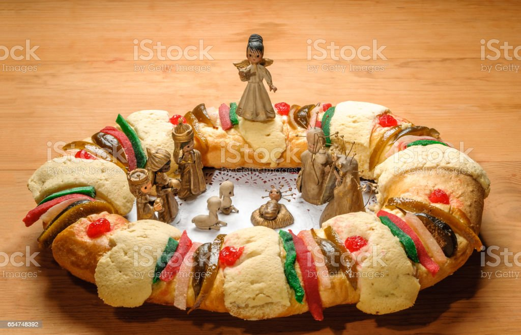Epiphany Cake Kings Cake Or Rosca De Reyes Stock Photo