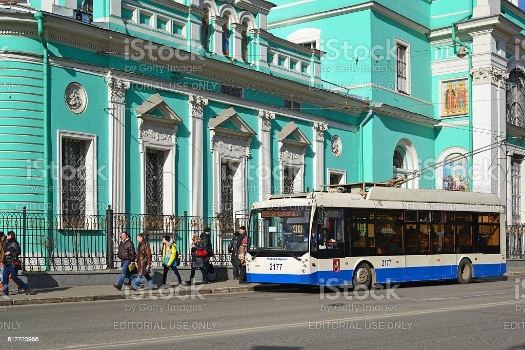 Epiphany Cathedral on street Spartakovskaya stock photo