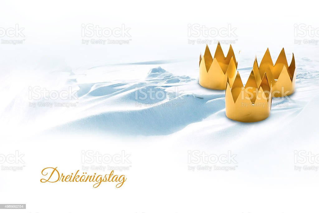 Epiphany, Three Kings Day, symbolized by three tinkered crowns o stock photo