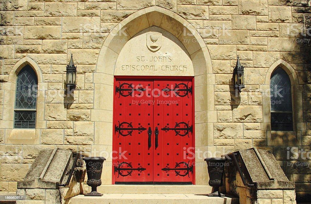 Episcopal Church with Red Door stock photo
