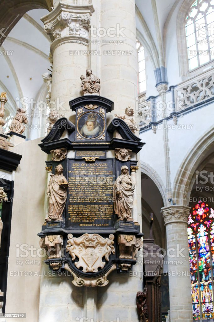 Epitaph in Church of St Andrew, Antwerp stock photo