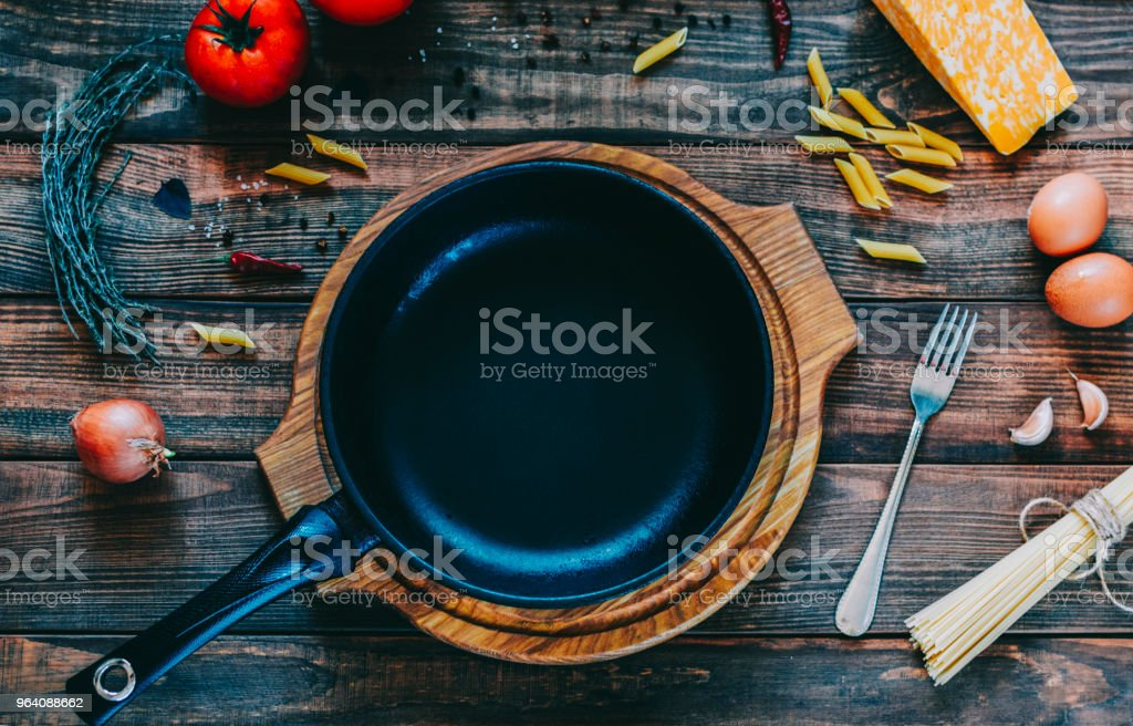 Epmty Pan On Table - Royalty-free Above Stock Photo