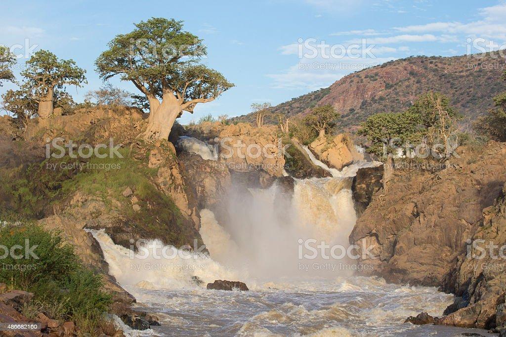 Epupa Falls with Baobab stock photo