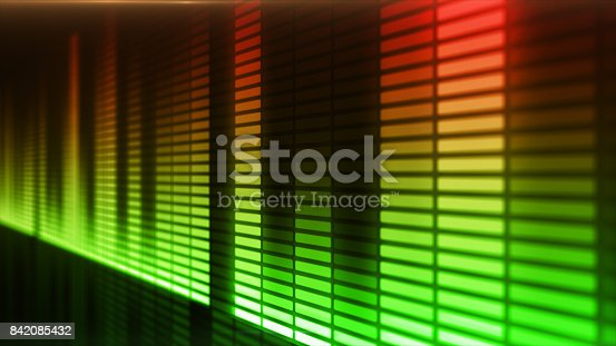 istock Eq, equalizer scale with reflection and chart, 3d on dark background 842085432