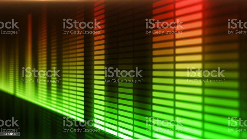 Eq, equalizer scale with reflection and chart, 3d on dark background stock photo