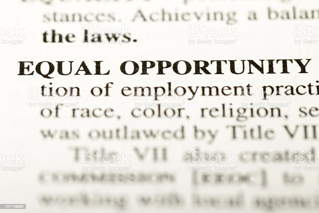Eqaul opportunity definition royalty-free stock photo