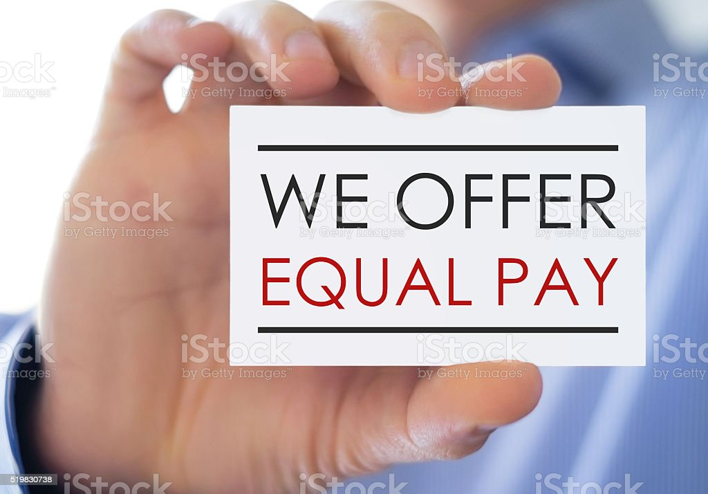 Equal Pay - Business card stock photo