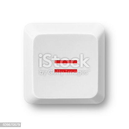 Equal sign or human rights campaign symbol on a white computer key isolated on white. Key'™s clipping path included. The red color of the equal sign can be easily modified in photoshop by moving the Hue/Saturation slider without affecting the rest of the image.