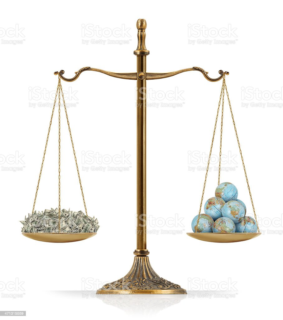 "Equal Weighted: Money and World Globes There is money at the one side of ""Scales of Justice"" while there are world globes on the other side. In this version, money and world globes are equal weighted. Isolated on white background. American One Hundred Dollar Bill Stock Photo"