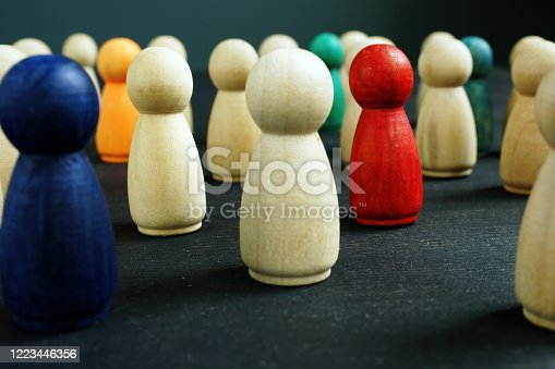 Equality and diversity concept. Group of colourful figures.