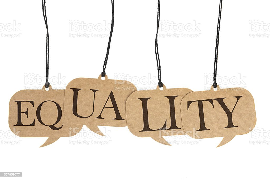Equality - Cardboard Speech Bubble Tags on White Background stock photo