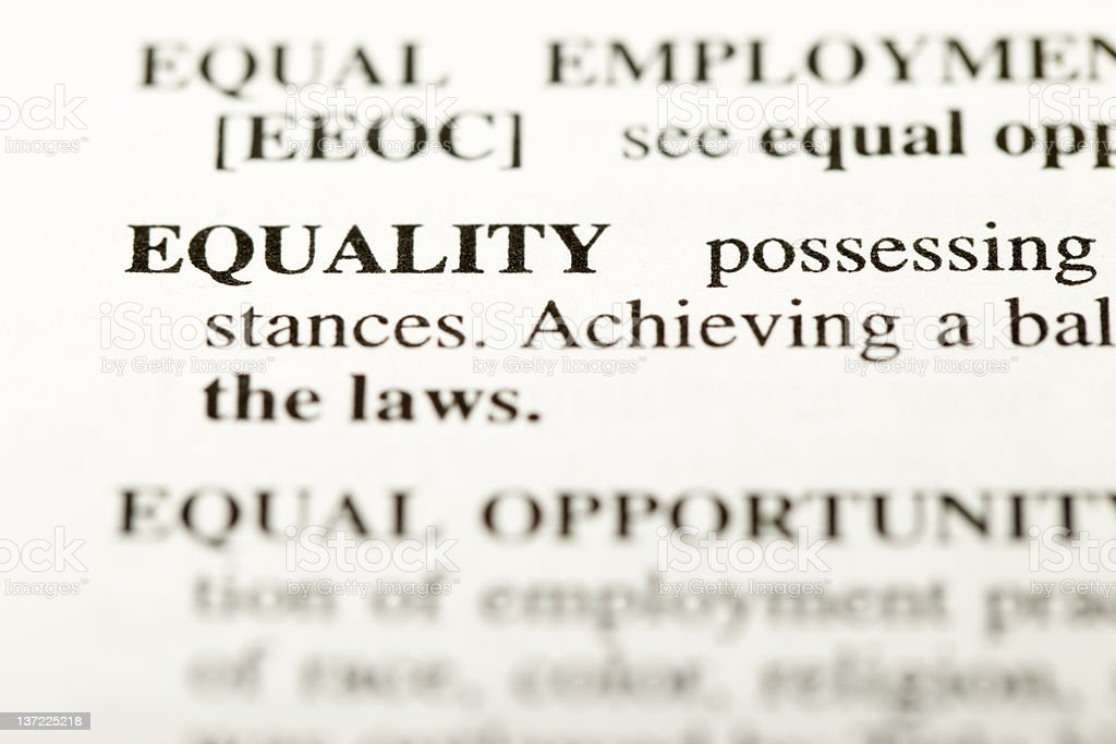 Equality definition royalty-free stock photo